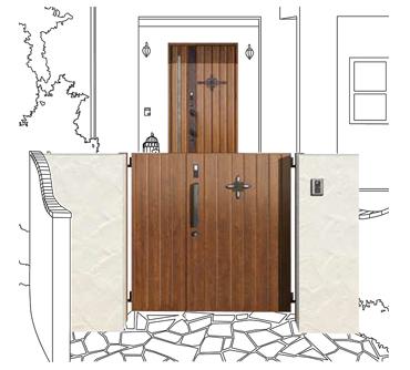 お好みのデザインで門扉と玄関ドアをコーディネート